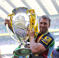 Aviva Premiership Final .Twickenham, England. Harlequins captain Chris Robshaw celebrates with the trophy following his team's victory during the Aviva Premiership final between Harlequins and Leicester Tigers at Twickenham Stadium on May 26, 2012 in London, England.