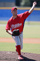 Philadelphia Phillies minor league pitcher Derrick Loop vs. the Toronto Blue Jays in an Instructional League game at Englebert Minor League Complex in Dunedin, Florida;  October 7, 2010.  Photo By Mike Janes/Four Seam Images