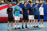 9th January 2020; Sydney Olympic Park Tennis Centre, Sydney, New South Wales, Australia; ATP Cup Australia, Sydney, Day 7; Great Britain versus Australia; Cameron Norrie of Great Britain versus Nick Kyrgios of Australia; Team Great Britain line up for national anthems before the match - Editorial Use