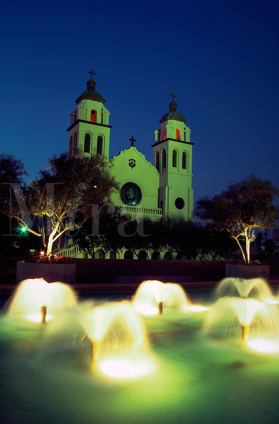 St. Mary's church and fountain lit at dusk, Phoenix, Arizona