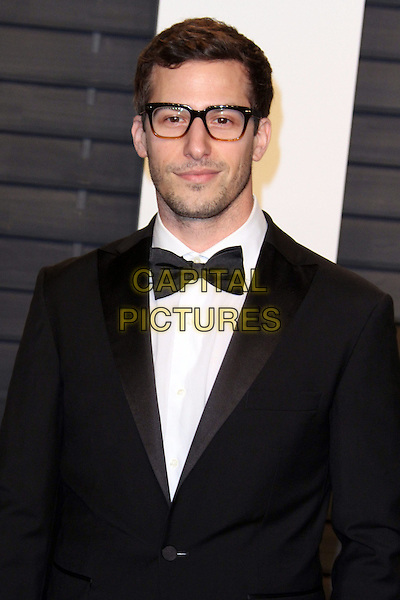 28 February 2016 - Beverly Hills, California - Andy Samberg. 2016 Vanity Fair Oscar Party hosted by Graydon Carter following the 88th Academy Awards held at the Wallis Annenberg Center for the Performing Arts. <br /> CAP/ADM<br /> &copy;ADM/Capital Pictures