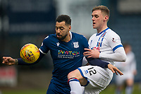 4th January 2020; Dens Park, Dundee, Scotland; Scottish Championship Football, Dundee FC versus Inverness Caledonian Thistle; Kane Hemmings of Dundee challenges Kevin McHattie of Inverness Caledonian Thistle  - Editorial Use