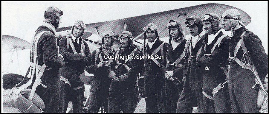 BNPS.co.uk (01202 55883&pound;)<br /> Pic: Spink&amp;Son/BNPS<br /> <br /> Kenneth Cross (centre).<br /> <br /> The remarkable archive of an RAF officer who was one of six out of 37 men to survive three days adrift in the freezing Arctic Ocean have come to light.<br /> <br /> Sir Kenneth Cross had already cheated death by dodging a bullet aimed for his head in the cockpit of his plane when the aircraft carrier he was on was attacked and sunk.<br /> <br /> He plunged into the icy sea and was one of 37 survivors to make it into a lifeboat. With hardly any food or water on board, most of the shipwrecked men died from exposure over the next 70 hours.<br /> <br /> Now a water-stained diary he kept while shipwrecked, his RAF log book and 16 medals are coming up for sale at auctioneers Spink of London.