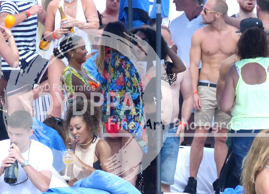 **ALL ROUND EXCLUSIVE PICTURES FROM SOLARPIX.COM**<br /> **DOUBLE SPACE RATES APPLY**<br /> **WORLDWIDE SYNDICATION RIGHTS**<br /> Little Mix singer Leigh-Anne Pinnock was spotted partying at the Champagne Spray Party at the Ocean Club in Marbella this weekend with her on-off boyfriend, Jordan Kiffin, who plays football for Ashford Town F.C. Leigh-Anne was in Marbella for a long weekend with fellow band-mate Jade Thirwall, who was hard to spot in the crowd.<br /> This pic:   Leigh-Anne Pinnock <br /> JOB REF:  18225  AB1sf      DATE:  24.05.15<br /> **MUST CREDIT SOLARPIX.COM OR DOUBLE FEE WILL BE CHARGED**<br /> **MUST AGREE FEE BEFORE ONLINE USAGE**<br /> **CALL US ON: +34 952 811 768 or LOW RATE FROM UK 0844 617 7637**