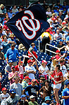 25 April 2010: The Washington Nationals Flag is waved by a member of the Nat Pack prior to a game against the Los Angeles Dodgers at Nationals Park in Washington, DC. The Nationals shut out the Dodgers 1-0 to take the rubber match of their 3-game series. Mandatory Credit: Ed Wolfstein Photo