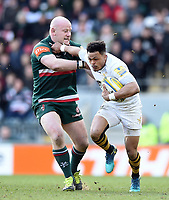 Juan De Jongh of Wasps fends Dan Cole of Leicester Tigers. Aviva Premiership match, between Leicester Tigers and Wasps on March 25, 2018 at Welford Road in Leicester, England. Photo by: Patrick Khachfe / JMP