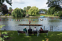 Maidenhead, United Kingdom.  &quot;Single&quot;, with spectators looking on, &quot;Thames Punting Club Regatta&quot;, Bray Reach.<br /> 12:02:13 Sunday  06/08/2017<br /> <br /> [Mandatory Credit. Peter SPURRIER Intersport Images}.<br /> <br /> LEICA Q (Typ 116) 28mm  f1.7   1/6400 /sec    100 ISO River Thames, .......... Summer, Sport, Sunny, Bright, Blue Skies, Skilful,