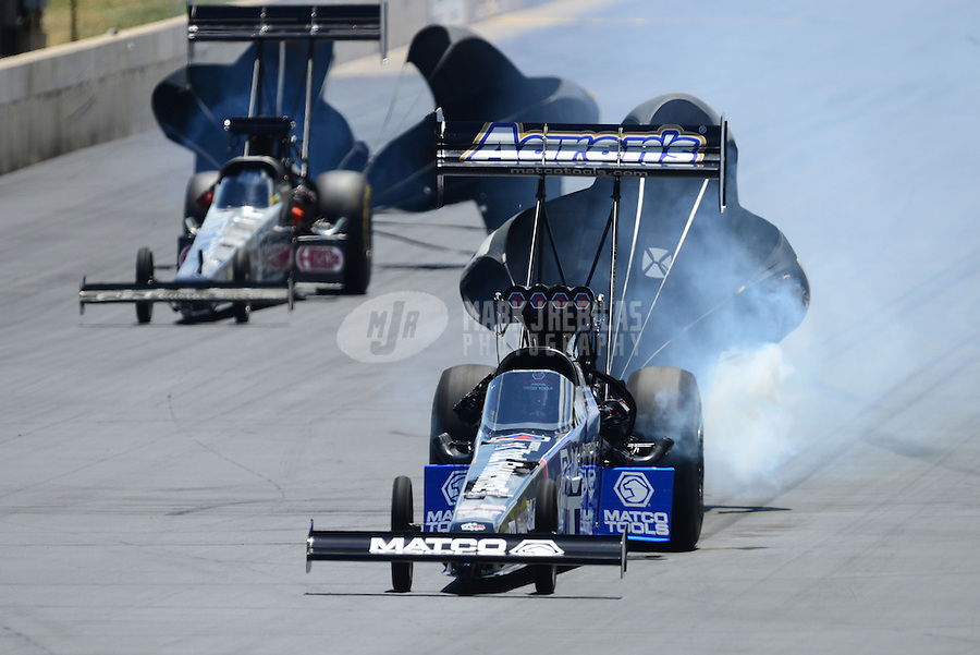 Jul, 22, 2012; Morrison, CO, USA: NHRA top fuel dragster driver Antron Brown during the Mile High Nationals at Bandimere Speedway. Mandatory Credit: Mark J. Rebilas-