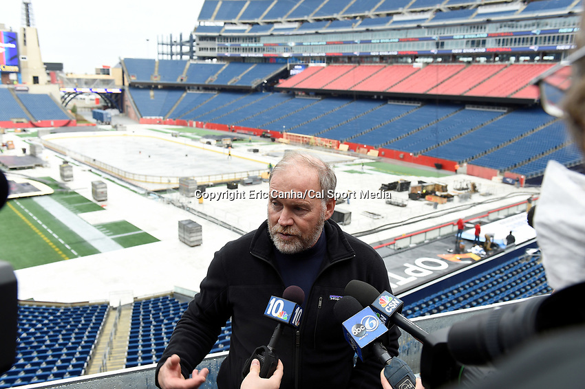 Wednesday, December 23, 2015:  Dan Craig, NHL senior director of operations, talks about the logistics of building an ice hockey rink on the game field at Gillette Stadium in preparation for the 2016 Bridgestone NHL Winter Classic® hockey game between the Montreal Canadiens and the Boston Bruins to be held January 1, 2016 in Foxborough, Massachusetts. Eric Canha/CSM