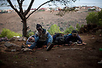 Sub-saharan immigrants in the Gurugu Mountain  waiting to jump the border fence that separates the Spanish city of Melilla from Morocco, on november 2, 2012, some of them are there since two years ago..