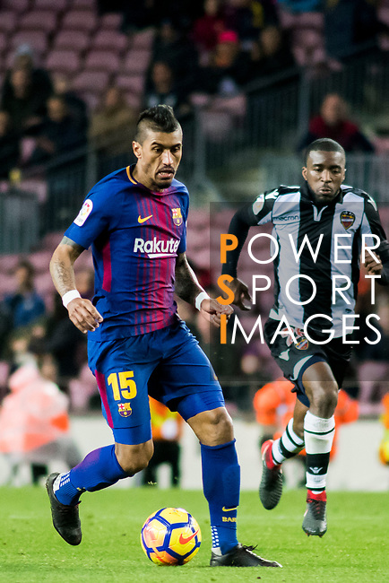 Jose Paulo Bezerra Maciel Junior, Paulinho (L), of FC Barcelona is followed by Shaquell Moore, Shaq Moore, of Levante UD  during the La Liga 2017-18 match between FC Barcelona and Levante UD at Camp Nou on 07 January 2018 in Barcelona, Spain. Photo by Vicens Gimenez / Power Sport Images