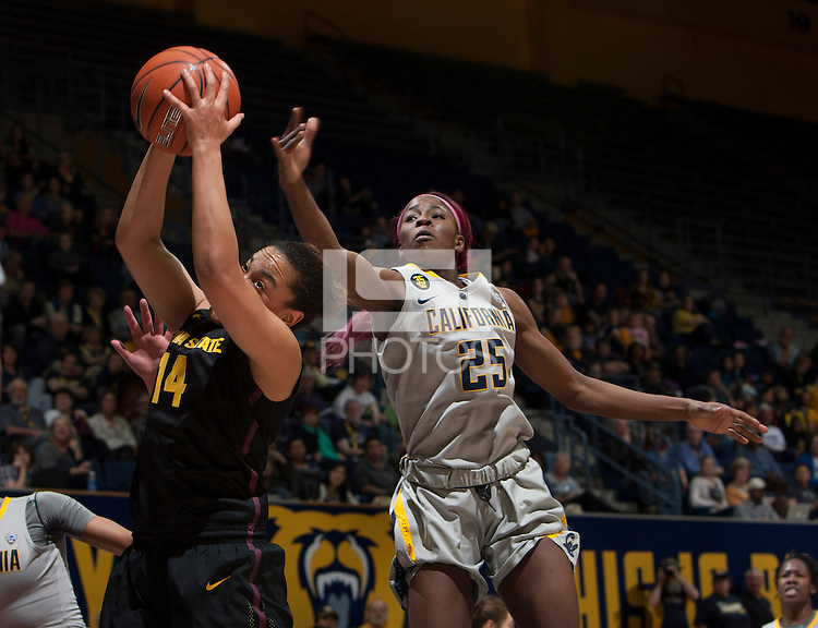 Gennifer Brandon of California tries to rebound the ball during the game against Arizona State at Haas Pavilion in Berkeley, California on February 16th, 2014.  California defeated Arizona State, 74-63.