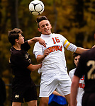 THOMASTON,  CT-101619JS05- Terryville's Evan Coviello (16) heads the ball in front of Thomaston's Salvatore Treglia (2) during their Berkshire League match up Wednesday at Nystrom Park in Thomaston.<br /> Jim Shannon Republican-American