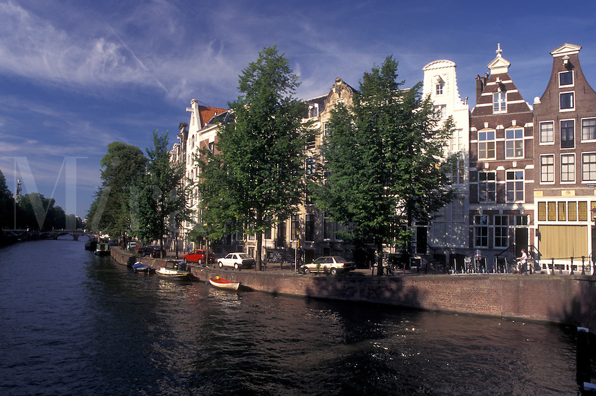 Amsterdam, Holland, Netherlands, Noord-Holland, Europe, Canal in Amsterdam.