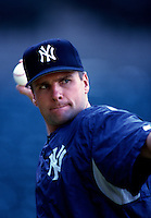 Chuck Knoblauch of the New York Yankees plays in a baseball game at Edison International Field during the 1998 season in Anaheim, California. (Larry Goren/Four Seam Images)