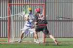 Santa Barbara, CA 04/16/16 - Connor  Reilly (Chapman #42) and Peter Brydon (UCSB #30) in action during the final regular MCLA SLC season game between Chapman and UC Santa Barbara.  Chapman defeated UCSB 15-8.