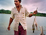 PANAMA, Panama City, catching fish, the River of Gold in the Darien Jungle, the Chagres River, Central America
