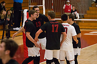 STANFORD, CA - January 2, 2018: Eric Beatty, Kevin Rakestraw, Eli Wopat, Evan Enriques, Russell Dervay at Burnham Pavilion. The Stanford Cardinal defeated the Calgary Dinos 3-1.