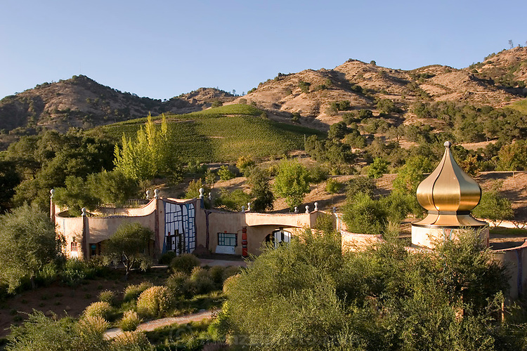 Quixote Winery, owned and built by Carl Doumani and designed by Friedensreich Hundertwasser, an Austrian designer. Napa Valley, CALIFORNIA.