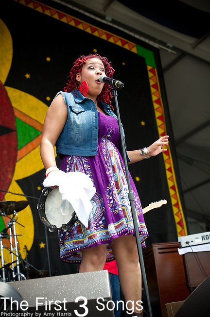 Zena Moses of Zena Moses & Rue Fiya performs during the New Orleans Jazz & Heritage Festival in New Orleans, LA.