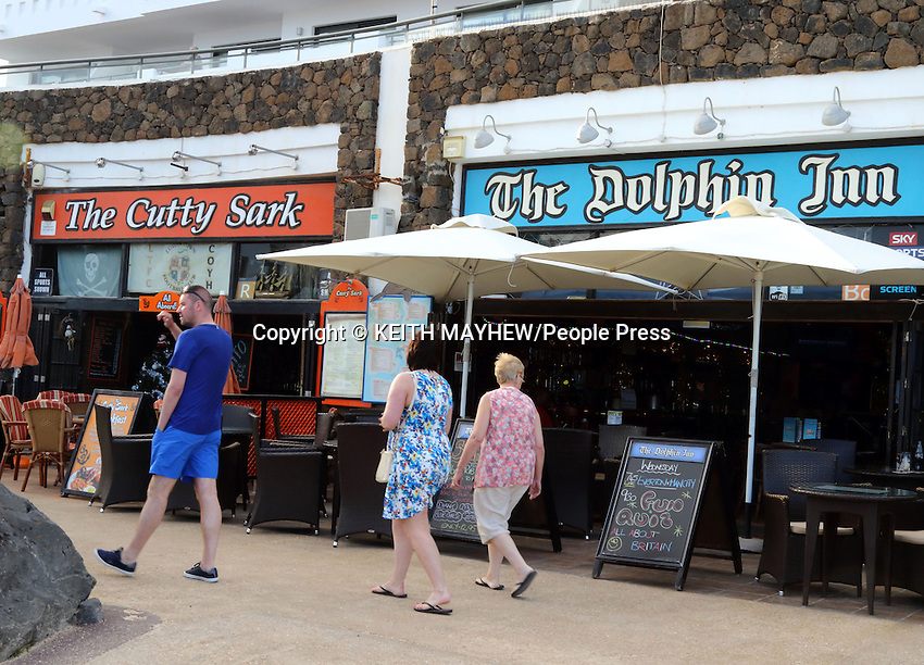 LANZAROTE, CANARY ISLANDS - Bars in the beach resort of Costa Teguise during January 2016 in Lanzarote, Canary Islands<br /> <br /> Photo by Keith Mayhew