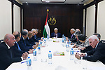 Palestinian President Mahmoud Abbas chairs a meeting with the new Executive Committee of Palestinian Liberation Organization in the West Bank city of Ramallah on May 4, 2018. Photo by Thaer Ganaim