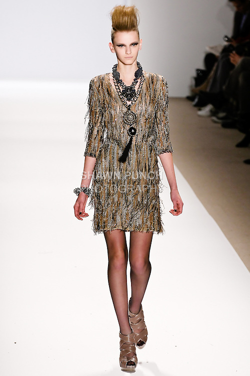 Tetyana Melnychuk walks the runway in a Naeem Khan Fall 2010 outfit, during Mercedes-Benz Fashion Week Fall 2010.