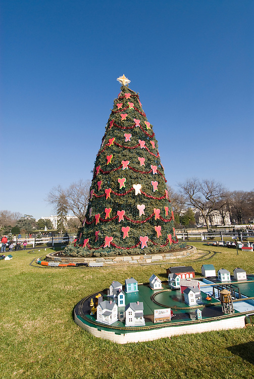 Washington DC; USA: National Christmas Tree outside the White House, with gingerbread Victorian village.Photo copyright Lee Foster Photo # 17-washdc76164