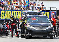 Mar 13, 2015; Gainesville, FL, USA; NHRA funny car driver Alexis DeJoria during qualifying for the Gatornationals at Auto Plus Raceway at Gainesville. Mandatory Credit: Mark J. Rebilas-