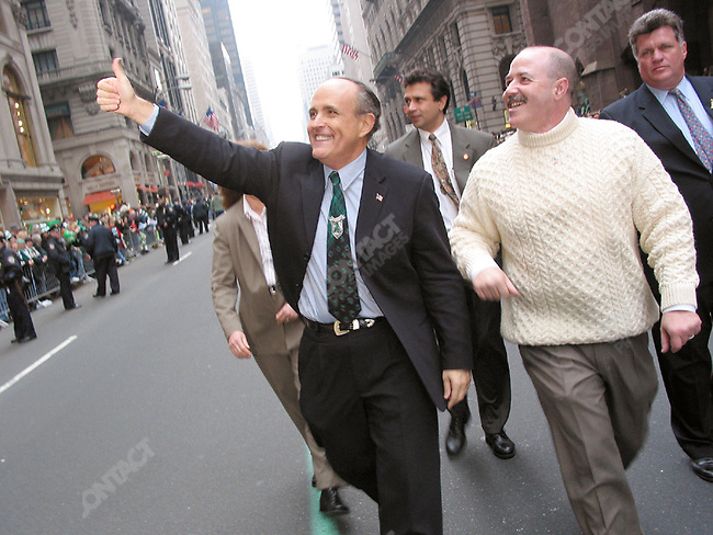 Former New York Mayor Rudolph Giuliani with former Police Commissioner Bernard Kerik, St. Patrick's Day parade, New York City, New York, USA, March 2002