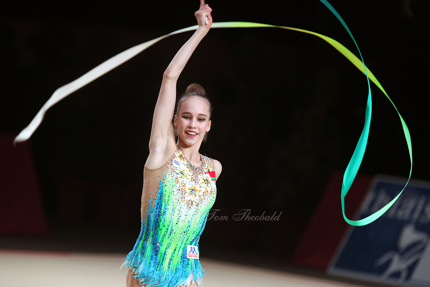 Julia Evchik of Belarus performs at Thiais Grand Prix on March 25, 2018.