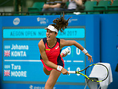 June 13th 2017, Nottingham, England; WTA Aegon Nottingham Open Tennis Tournament;  Johanna Konta of Great Britain serving on centre court in her match against Tara Moore of Great Britain
