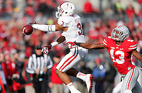 Indiana Hoosiers wide receiver Dominique Booth (3) fails to catch a pass under pressure from Ohio State Buckeyes cornerback Eli Apple (13) in the third quarter of the college football game between the Ohio State Buckeyes and the Indiana Hoosiers at Ohio Stadium in Columbus, Saturday afternoon, November 22, 2014. The Ohio State Buckeyes defeated the Indiana Hoosiers 42 - 27. (The Columbus Dispatch / Eamon Queeney)