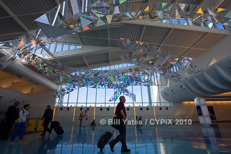 SkyBridges - An aerial sculpture by artists Melanie Walker and George Peters of Airworks Studio commissioned by the Jacksonville International Airport Arts Commission and the Jacksonville Aviation Authority