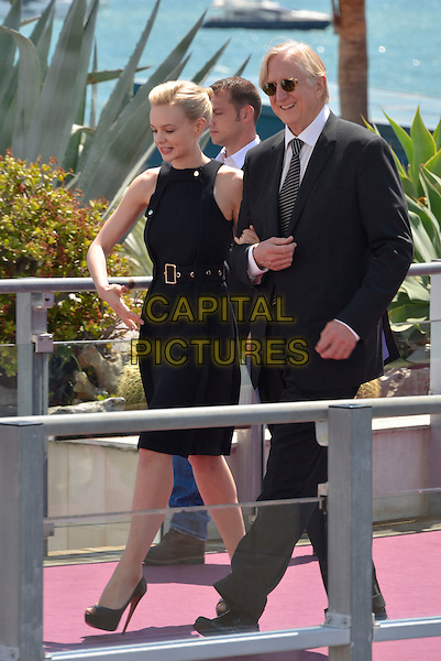 Carey Mulligan.'Inside Llewyn Davis' film photocall at the 66th  Cannes Film Festival, Cannes, France, 19th May 2013..full length black dress sleeveless  hand walking belt peep toe shoes heels  belt .CAP/PL.©Phil Loftus/Capital Pictures.