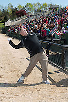 Kannapolis Intimidators General Manager Randy Long tosses tee shirts into the stands between innings of the South Atlantic League game against the Delmarva Shorebirds at Kannapolis Intimidators Stadium on April 13, 2016 in Kannapolis, North Carolina.  The Intimidators defeated the Shorebirds 8-7.  (Brian Westerholt/Four Seam Images)