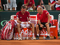 Austria, Kitzbühel, Juli 17, 2015, Tennis, Davis Cup, Second match between Robin Haase (NED and Andreas Haider-Maurer (AUT), pictured: Andreas Haider-Maurer on the Austrian beng with captan Stefan Koubek<br /> Photo: Tennisimages/Henk Koster