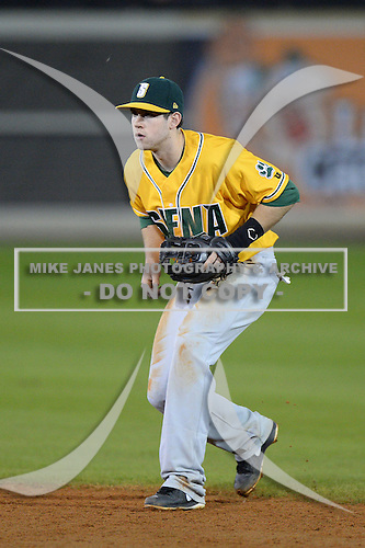 Siena Saints second baseman Mike Allen (8) during the season opening game against the Central Florida Knights at Jay Bergman Field on February 14, 2014 in Orlando, Florida.  UCF defeated Siena 8-1.  (Copyright Mike Janes Photography)