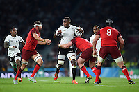 Leone Nakarawa of Fiji takes on the England defence. Rugby World Cup Pool A match between England and Fiji on September 18, 2015 at Twickenham Stadium in London, England. Photo by: Patrick Khachfe / Onside Images