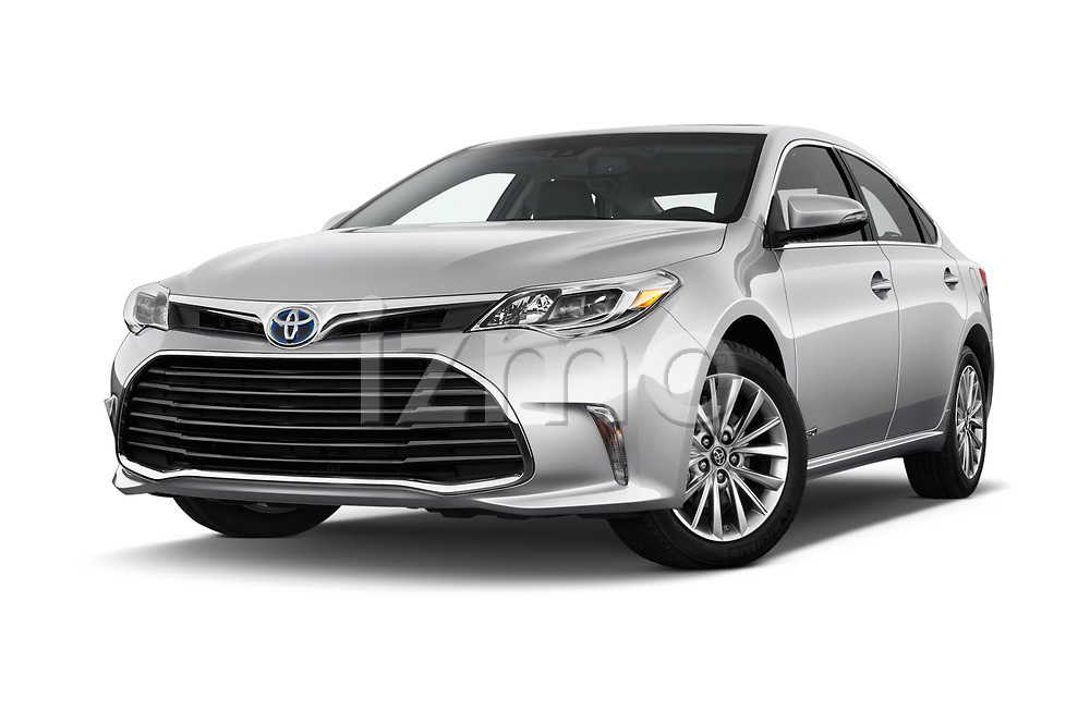 Stock pictures of low aggressive front three quarter view of a 2018 Toyota Avalon Limited Hybrid 4 Door Sedan