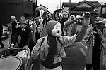 Villager go around the village to perform Shishimai, dragon dance, during the Fall festival in Hikawa, Shimane.