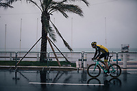 Timo Roosen (NED/LottoNL-Jumbo) on his way to the race start on the Promenade des Anglais in torrential rained down Nice (and next to the Mediterranean Sea)<br /> <br /> 76th Paris-Nice 2018<br /> Stage 8: Nice > Nice (110km)