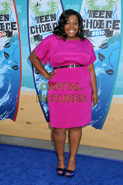 AMBER RILEY.Teen Choice Awards 2010 - Arrivals held at Universal Studios Gibson Amphitheatre, Universal City, California, USA..August 8th, 2010 .full length pink dress blue peep toe shoes black belt hand on hip.CAP/ADM/BP.©Byron Purvis/AdMedia/Capital Pictures.