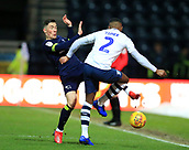 1st February 2019, Deepdale, Preston, England; EFL Championship football, Preston North End versus Derby County; Harry Wilson  of Derby County collides with Darnell Fisher of Preston North End