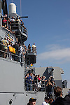 Final voyage of the battleship USS Iowa from Berth 51 to its new home at Berth 87 in San Pedro, Los Angeles, CA where it opens as a museum ship in July 2012.
