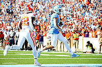 CHAPEL HILL, NC - SEPTEMBER 28: Beau Corrales #15 of the University of North Carolina scores a touchdown during a game between Clemson University and University of North Carolina at Kenan Memorial Stadium on September 28, 2019 in Chapel Hill, North Carolina.