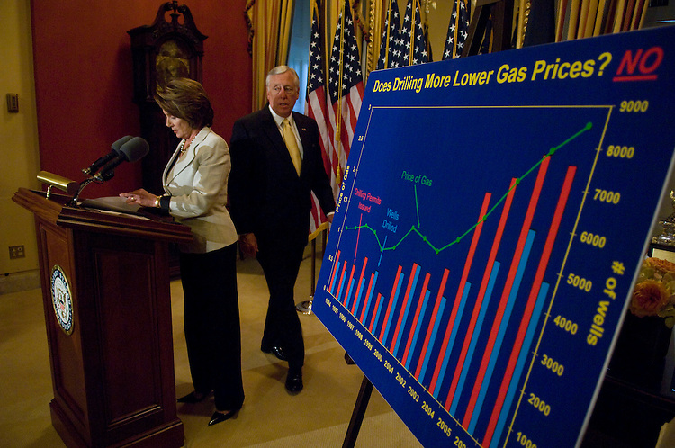 WASHINGTON, DC - May 07: House Speaker Nancy Pelosi, D-Calif., and House Majority Leader Steny Hoyer, D-Md., arrive for a news conference calling on President Bush to suspend filling the Strategic Petroleum Reserve (SPR) to ease fuel prices. (photo by Scott J. Ferrell/Congressional Quarterly)