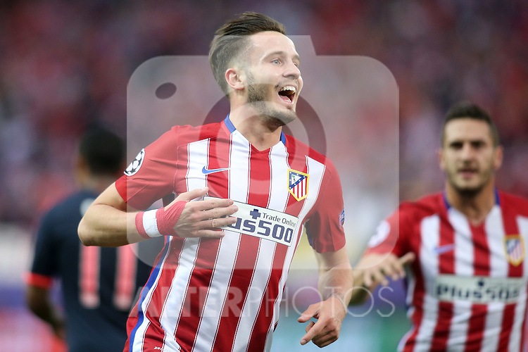 Atletico de Madrid's Saul Niguez celebrates goal during Champions League 2015/2016 Semi-Finals 1st leg match. April 27,2016. (ALTERPHOTOS/Acero)