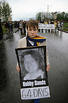 "Bobby Sands 1981  ""Tombe Bridge"" H Block protest. The Troubles 1981 Northern Ireland 1980s."