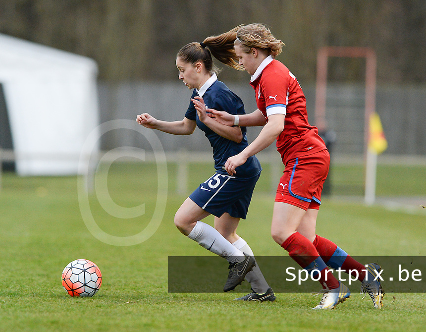 20160319 - FLERS , FRANCE : French Laura Rueda (L) and Czech Adela Radova (R) pictured during the soccer match between the women under 17 teams of  France and the Czech Republic , on the first matchday in group 3 of the UEFA Women Under17 Elite rounds at Stade du Haze in Flers , France . Saturday 19th March 2016 . PHOTO DAVID CATRY